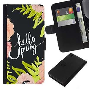 All Phone Most Case / Oferta Especial Cáscara Funda de cuero Monedero Cubierta de proteccion Caso / Wallet Case for HTC DESIRE 816 // Hello Spring Nature Flowers Floral Green