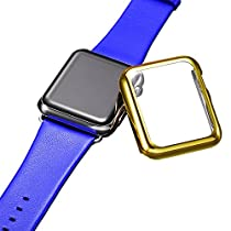 Apple Watch Case, FIVEFISH Ultra Lightweight Thin Clear PC Full Coverage Plated Case for Apple Watch (Gold 38mm)