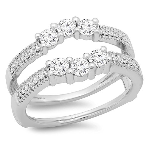 0.80 Carat (ctw) 14K White Gold Round Diamond Ladies Wedding 3 Stone Enhancer Guard Double Ring 3/4 CT