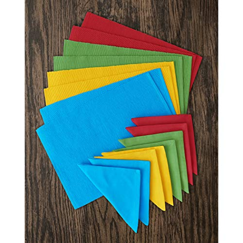 Fiesta Color - Elrene Home Fashions Santa Clara Solid Fiesta Color Placemat and Napkin, Set of 16, Assorted