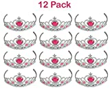 Kidsco 12 Piece Adjustable Tiaras With Pink Heart Stones, Assorted
