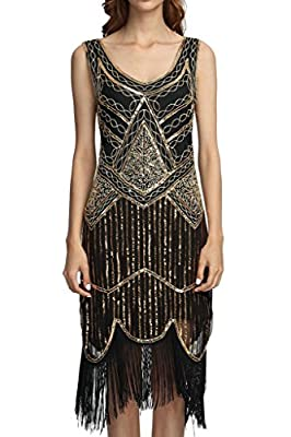 Deargles Women's 1920s Gastby Inspired Sequined Embellished Fringed Tank Flapper Dress