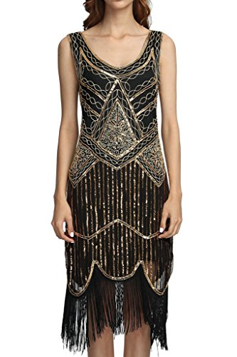 Deargles Women's 1920s Gastby Inspired Sequined Embellished Fringed Flapper Dress XPR001 Black Gold XL