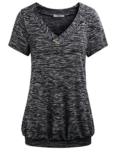 Cestyle Work Shirts for Women, Juniors V Neck Short Sleeve Banded Hem Lightweight Cool Bouse Tunic Tops Summer Tshirt Multiclor Black L
