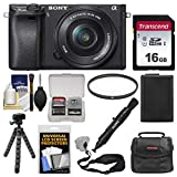 Cheap Sony Alpha A6300 4K Wi-Fi Digital Camera & 16-50mm Lens (Black) with 16GB Card + Case + Battery + Flex Tripod + Filter + Strap + Kit