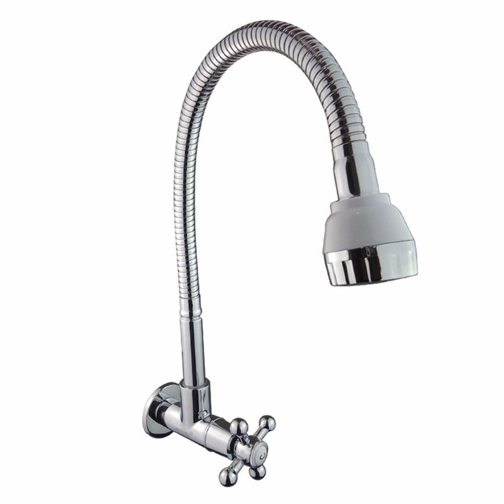 Commercial Single Lever Pull Down Kitchen Sink Faucet Brass Constructed Polished  Into The Wall Universal Kitchen Faucet Single Cold Sink Faucet Sink Cross Wheel Faucet