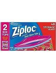 Ziploc Storage Bags, Quart, 48 Count