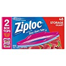 Ziploc Storage Bag, Quart Value Pack, Double Zipper, 48-Count(Pack of 3) (Packaging may vary)