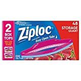 Ziploc Storage Bags, Quart, 48 Count