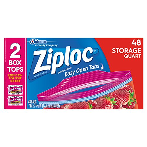 Ziploc Storage Bags Quart 48 ct (Pack Of 3)