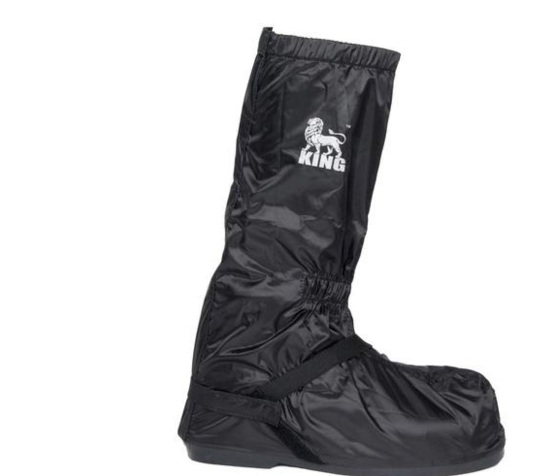 Protect the King Motorcycle Rain Boot Cover with Hard Sole (XXX-Large, Black/Silver)