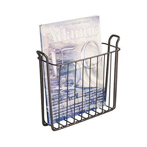 InterDesign Classico Steel Wire Wall Mount Newspaper and Magazine Holder Rack for Bathroom Organization, Bronze
