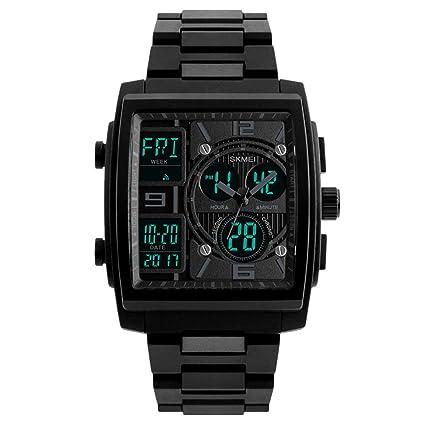 Hemobllo Reloj para Hombre Grande Cuadrado Deportes Militares analógico Digital Impermeable Reloj al Aire Libre (
