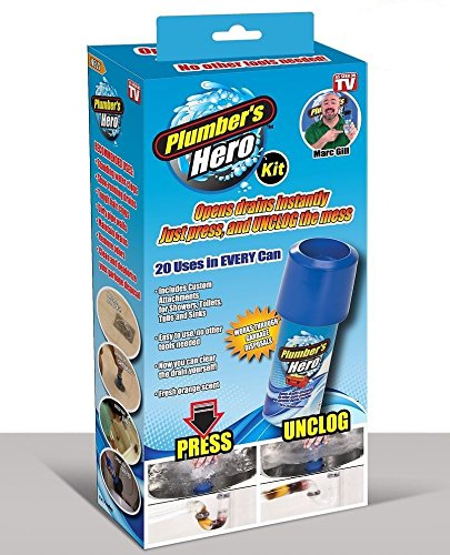 (Plumber's Hero Kit - Unclog Drains Instantly - 20 Uses in Every Can - In E-Commerce Packaging         )