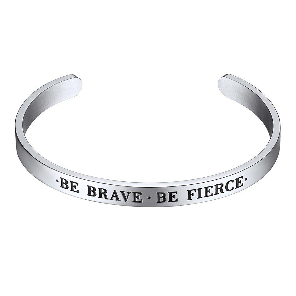PROSTEEL Cuff Bracelet,Be Brave,Be Fierce,Bible