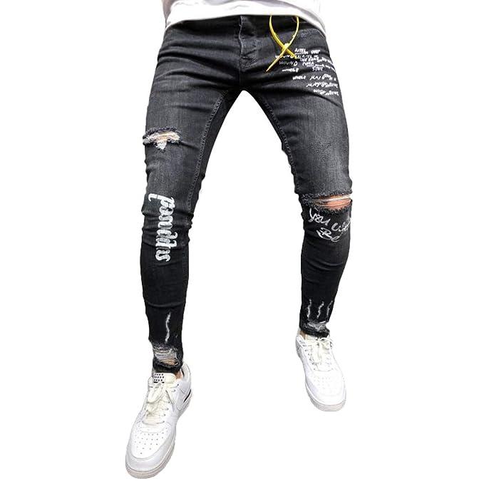 377b48d53ef junkai Hombres Skinny Jeans Letra Impreso Pantalones de Mezclilla Rasgados  Agujero de la Rodilla Estiramiento Taper pies pequeños Pantalones Negro L:  ...