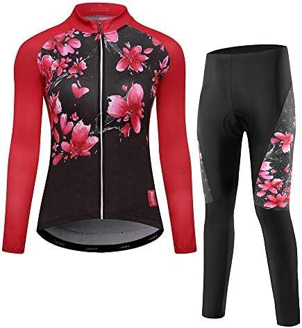 サイクルジャージ 女性の長袖ジャージースーツ秋と冬の水分を吸って速乾性生地通気性UV保護 吸汗速乾高通気 (色 : A1, サイズ : XL)