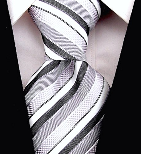 Scott Allan Mens Striped Neckties - Black & Gray Mens Tie