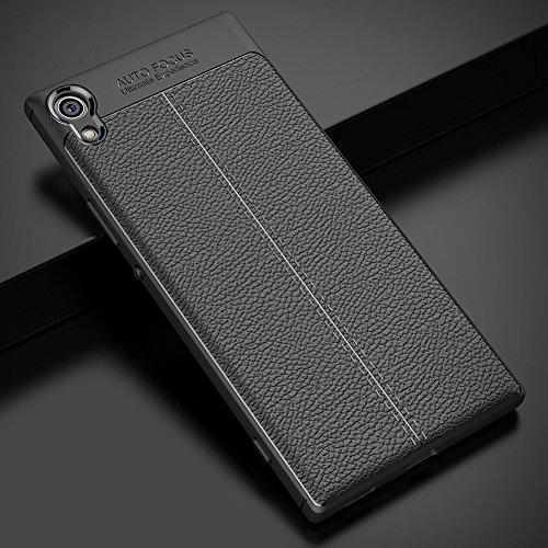 Sony Xperia XA1 Hülle, MSVII® Anti-Shock Weich TPU Silikon Hülle Schutzhülle Case Und Displayschutzfolie für Sony Xperia XA1 - Schwarz JY90145