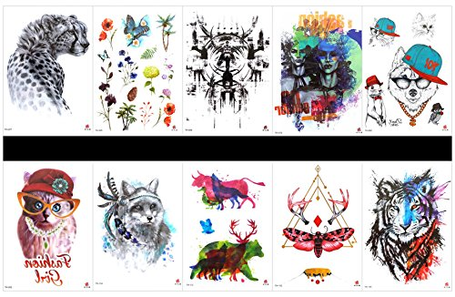 GGSELL GGSELL 10pcs tattoo tiger temporary tattoos in one packages,including leopard,flower with butterfly,totem, cartoon,lady,cartoon cat,wolf,cow,deer,butterfly,tiger,etc. -