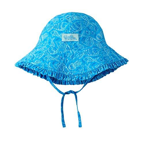 UV SKINZ UPF 50+ Baby Girls Reversible Sun Hat - Aqua Sea Life -18/24 - Life Sun Girls
