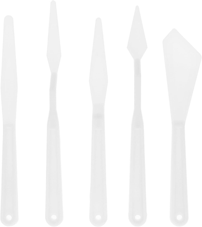 US Art Supply 5-Piece Plastic Artist Palette Knife Set