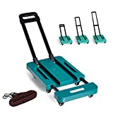 LUCKSTAR 440lb Folding Hand Truck - 6 Wheels Foldable Luggage Cart Hand Collapsible Truck with Free Rope (Green)
