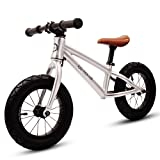XJD Balance Bike For Kids Ages 3 to 6 Years Lightweight Aluminum Frame No-Pedal Push Bicycle Adjustable Saddle, 12 Air Tires (Silver)