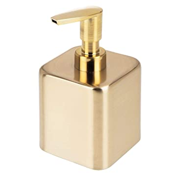 nice cheap 100% authentic crazy price mDesign Small Modern Square Metal Refillable Liquid Hand Soap Dispenser  Pump Bottle for Kitchen, Bathroom, Powder Room - Holds Hand Soap, Dish  Soap, ...