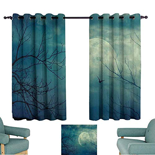 Windshield Curtain Horror House Decor Halloween with Full Moon in Sky and Dead Tree Branches Evil Haunted Forest Light Blocking Drapes with Liner W72 xL72 Blue -