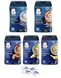 Gerber Baby Cereal Probiotic Super Pack, Oatmeal & Banana, Rice Banana Apple, Oatmeal Peach Apple, DHA Oatmeal, and DHA Rice Baby Cereal Canisters, 8oz. with bonus of 4 Purell Hand Sanitizing Wipes