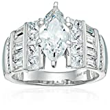 Sterling Silver Cubic Zirconia Marquise Cut Engagement Ring, Size 8