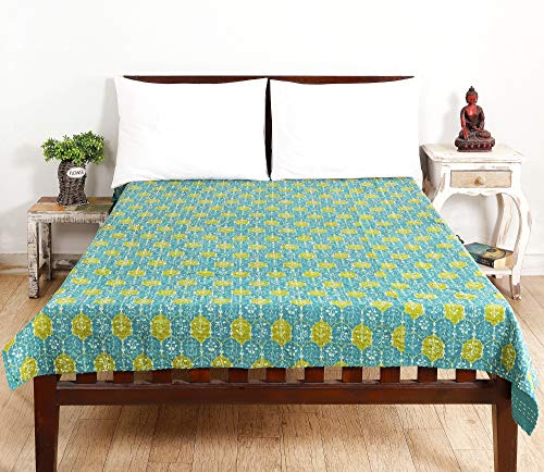 HANDICRAFT-PALACE Floral Printed Cotton Kantha Quilt Twin Size Bed Cover Hand Quilted Bedspread Quilt Throw Bohemian (Green)