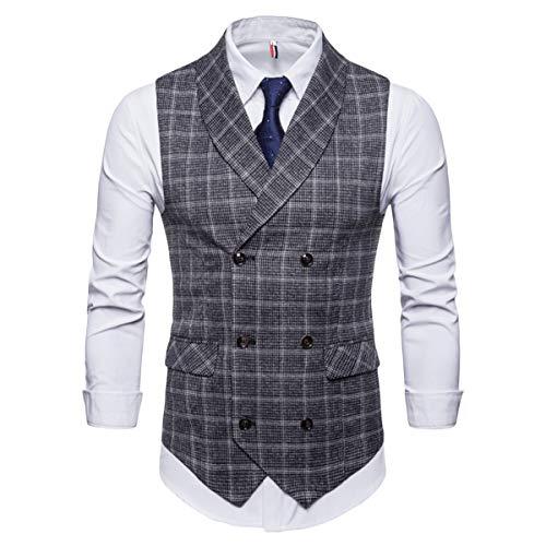 Men's Plaid Tweed Suit Vest Double-Breasted Casual Waistcoat Shawl Lapel Business Suit Vest Grey