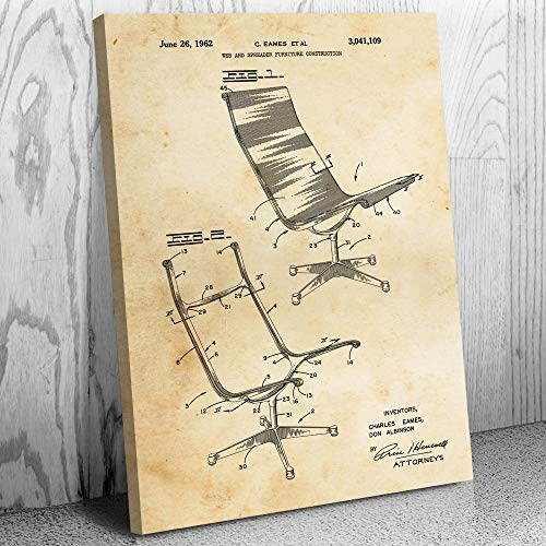 Eames Aeron Chair Canvas Print, Boss Chair, Businessman Gift, Herman Miller, Corporate Executive, Interior Designer Vintage Paper (18