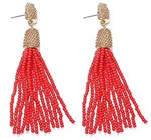 VK Accessories Bead Fringe Dangle Earrings Soriee Drop Earrings Beaded Tassel Ear Drop Red 3""