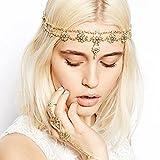 FXmimior Bridal Women Flower Vintage Bohemian Head Chain Crystal Halloween Head piece Wedding Hair Jewelry