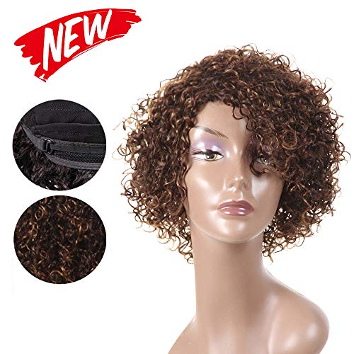 Brazilian Short Curl Colored Wigs With Bangs Human Hair Wigs None Full Lace Wigs For Black Women New Hairstyle On Deal (WIG P4/27)
