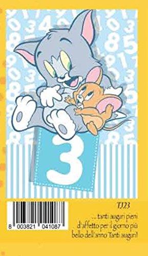 Tarjeta Felicitación cumpleaños 3 años Azul Niño Tom y Jerry ...