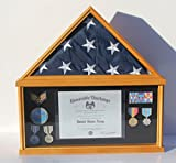 Military Memorial Shadow Box, Burial/Funeral Flag Display Case for 5' X 9.5' Flag (Oak) FC07-OA
