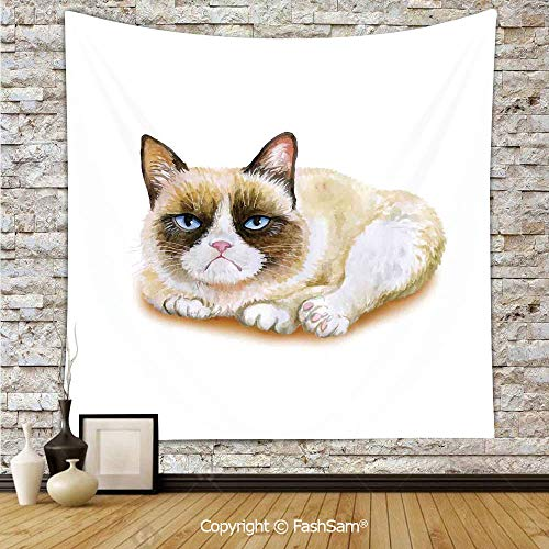 FashSam Tapestry Wall Hanging Grumpy Siamese Cat Angry Paws Asian Kitten Moody Feline Fluffy Love Art Print Tapestries Dorm Living Room Bedroom(W51xL59)]()