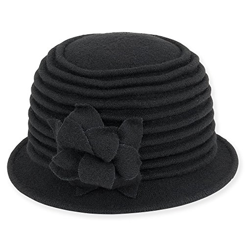 adora-womens-soft-wool-cloche-bucket-hat-with-floral-trim-a-black