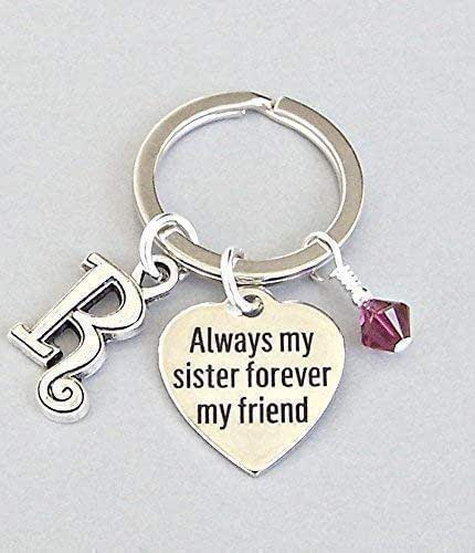 Details about  /Sister in Law Keychain Initial Letter Birthstone Silver Charm Personalized Gift