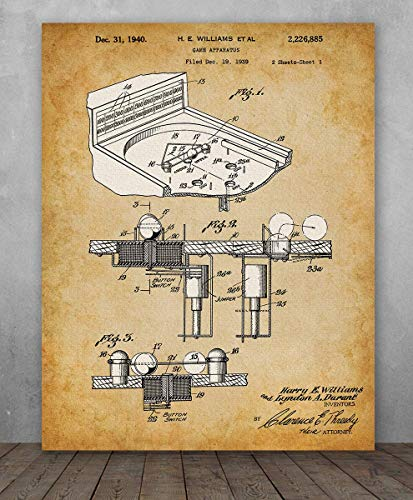 Poster - Pinball Machine Patent - Choose Unframed Poster or Canvas - Makes a Great Gift for Game Room Decor ()
