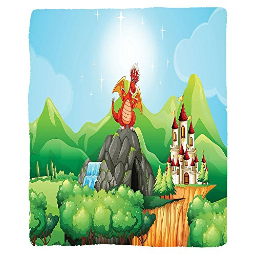 Kisscase Custom Blanket Cartoon Fantasy Dragon on Waterfall Cave by Castle Fiction Fairy Kids Myth Illustration Bedroom Living Room Dorm Multi