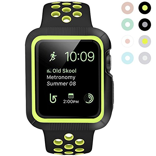 BRG Apple Watch Case with Band, Shock-proof and Shatter-resistant Protective Case with Silicone Sport iWatch Band for Apple Watch Series 2/1 Nike+ Sport and Edition 42mm M/L Black/Volt