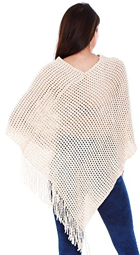 3415 Soft Oversize Women's Cape beige Knitted Simplicity Poncho qSY6nwawZ