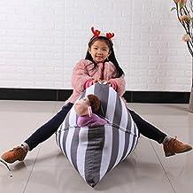 Compia Gray & White 65*95*55cm Kids Stuffed Animal Plush Toy Storage Bean Bag Soft Pouch Stripe Fabric Chair