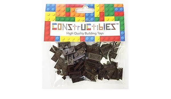 LEGO® Bulk Parts Constructibles® x50 Transparent Black 1x2 Plates 3023