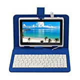 Yuntab 8GB Y88 7 inch Android Quad-core Tablet PC, 1024*600, Allwinner A33 , Google Android 4.4 ,with Dual Camera Google Play Pre-loaded, External 3G ,3D-Game Tablet with Keyboard Case (white blue)